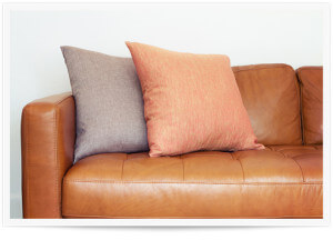 a leather couch in need of a sanitizing